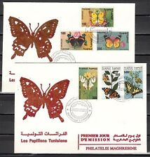 Tunisia, Scott cat. 1057-1062. Butterflies issue on 2 First Day Covers.