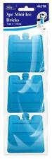Confezione da 3 Mini Mattoni Blocchi Di Ghiaccio Congelatore Frigo Borsa Porta Pranzo Picnic Viaggio Blu