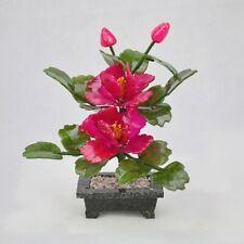 Feng Shui Peony Jade Flowering Bonsai Tree Hardstone Gemstone Flower