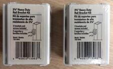 (LOT OF 2) Heavy Duty White Metal Aluminum Outdoor Garden Fence Rail 4 Brackets