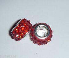 European Bead RED SHAMBALLA DISCO RESIN Crystals Charm Bead AUS Seller