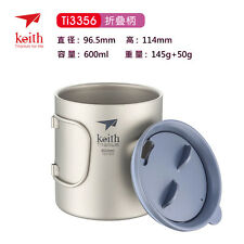 600ml Travel Titanium Double-wall Folding Handle Coffee Beer Water Cup Mug KS816