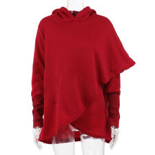 Women Long Sleeve Asymmetric Hooded Hem Wrap Outwear Tops Sweatshirt Overcoat