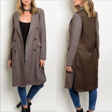 Brown Denim Long Couture Jacket Trench Coat Sz Small w/ Pockets