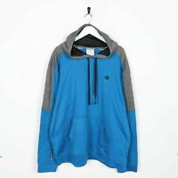 Vintage CHAMPION Small Logo Polyester Hoodie Sweatshirt Blue | XL