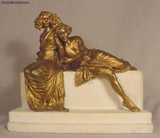Rare Carl Kauba Antique Art Nouveau Vienna Bronze & Marble Sculpture Two Lovers