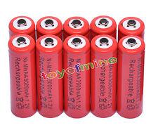 10x AA 2A 3000mAh 1.2V Ni-Mh Rojo Batería recargable MP3/RC/Reloj despertador