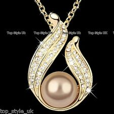 Gold Bronze Pearl Crystal Pendent Necklace Valentine Present Gift For Wife Women