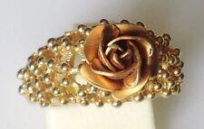 bague vintage couleur or décor ajouré fleur rose en relief non fermé taille 53