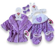Teddy Bears Clothes fit Build a Bear Purple Robe Hearts PJ's & Slippers Clothing