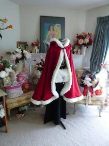 Bridal Knee length Hooded Wedding Cloak Cape Faux Fur Shawls Long Bridal Coat
