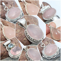 925 SOLID STERLING SILVER HANDMADE PENDANTS IN ROSE QUARTZ HEALING STONE