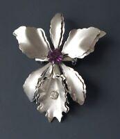 Vintage orchid flower  Brooch Pin