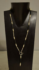 Necklace Czechoslovakian Black Glass Pearls Silver Gold Front Toggle Necklace