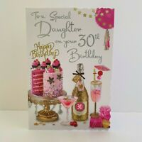 """Cocktail /& Flowers 9/"""" x 6/"""" Pink Glitter Numbers Age 21 Female Birthday Card"""