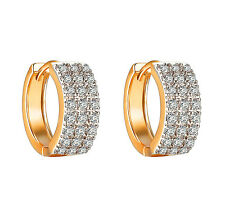 Cubic Zirconia Hoop Huggie Earrings 14k Yellow Gold Finish Iced Out 16mm On sale