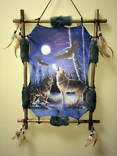 Wolf Eagle Picture Dream Catcher Wall Hanging Canvas 16x22 Beads Feathers Framed