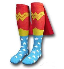 US SHIP! Wonder Woman Knee-High  Socks Costume Shiny Caped Crew Cut Stocking