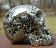 Sparkling Pyrite Skull Carving with Exposed Crystals