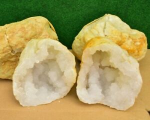 1 Large Sugar Quartz Crystal Geode Natural White Whole-Matching-Pair UK✔ 3-4 KG