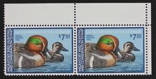 US RW46 1980 Green-Winged Teal, Pair $7.50 stamps Mint NH