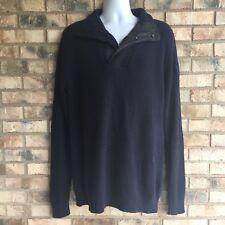 G-Star Raw Mens Size XXL Sweater Shawl Collar Navy Blue Zipper Snap ST