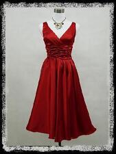 dress190 Rot V-Ausschnitt 50er Rockabilly Abschlussball Brautjun Kleid EUR 46-48