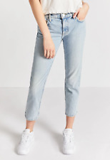 Current/Elliott The Cropped Straight in Light Indigo Thick Cotton Jeans 25