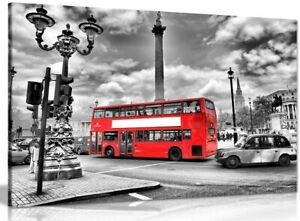 London Canvas Print Black & White Red Bus Canvas Wall Art Picture Print