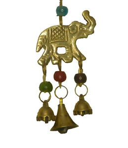 Elephant Wind Chime Brass Handcrafted Door Wall Hanging Bells with Beads Decor