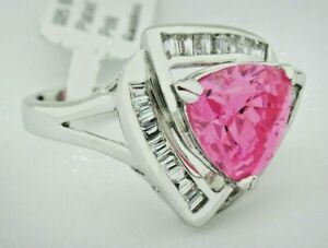 PINK SAPPHIRE 6.70 Cts & WHITE SAPPHIRES RING Silver Plated * NWT * Size 5.5