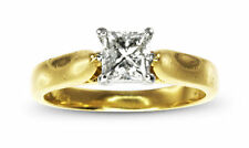 18k Yellow Gold Solitaire Princess Cut 0.50ct Diamond Engagement Ring Sz.H #636