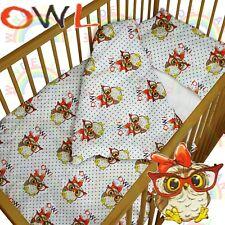 baby BEDDING set crib cot Owl Glasses DUVET bumper MOSES BASKET fitted sheetGIRL