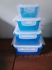 4 X Lock & Lock Square Food Containers - BLUE & WHITE - NEW