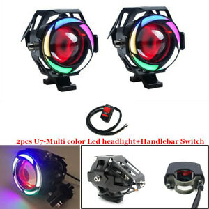 Multi Color Halo LED Motorcycle Headlight Spot Lamp Light Projector Lens Safety