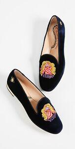 $615 CHARLOTTE OLYMPIA VIRGO EMBROIDERED Velvet Loafer Slip-On Flats 37.5 US-7.5