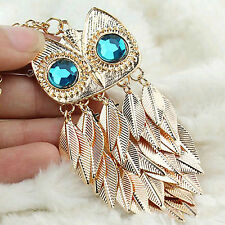 Retro Gold Leaves Blue Eye Owl Pendant Long Necklace Sweater Chain Necklace gift