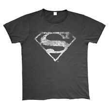 OFFICIAL Superman Mono Vintage Distressed Logo T Shirt Grey Raw Edges NEW SMALL