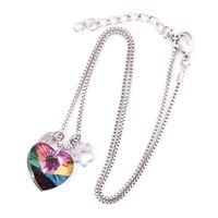 Lady Rainbow Crystal Dog Paw Angel Wing Heart Necklace Pendant Jewelry Women 1x
