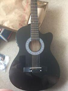 Gear4music RB120BK Roundback Electro Acoustic Guitar - Black