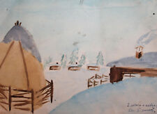 1953 Watercolor winter landscape drawing signed