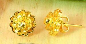 22K THAI BAHT DP YELLOW GOLD ~ BEAUTIFUL LAYERED FLOWER STUD POST EARRINGS