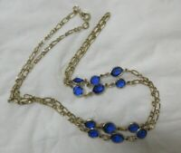 Vintage Gold Tone Small Blue Crystals Necklace