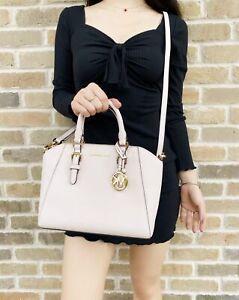 Michael Kors Ciara Medium Messenger Bag Crossbody Powder Blush Pink Leather