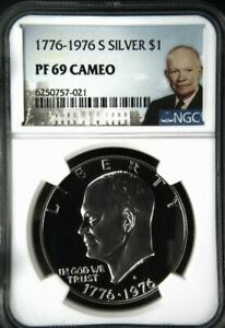 1976 S Proof SILVER $1 Eisenhower - NGC PF 69 Cameo