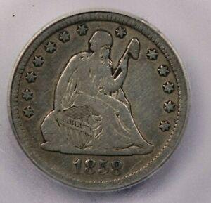 1858-O 1858 Seated Liberty Quarter ICG VG10