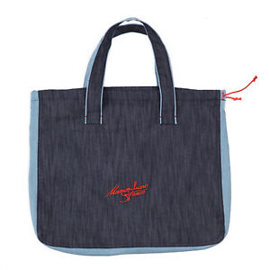 Massimiliano Stanco Two-Color Blue Chambray Denim Tote Bag Made in Italy