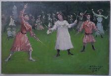 Tableau Petite Huile Miniature ENRIQUE ATALAYA Joueurs Diabolo 1907 Espagne