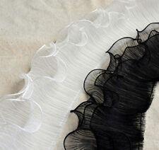 "Gauze Lace Trim Fabric White Black 3Layers Scallop Wedding Fabric 4.72""Width"