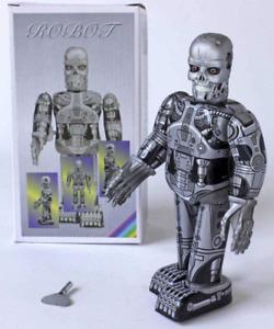Skeleton robot, terminator mechanical clockwork retro tin toy